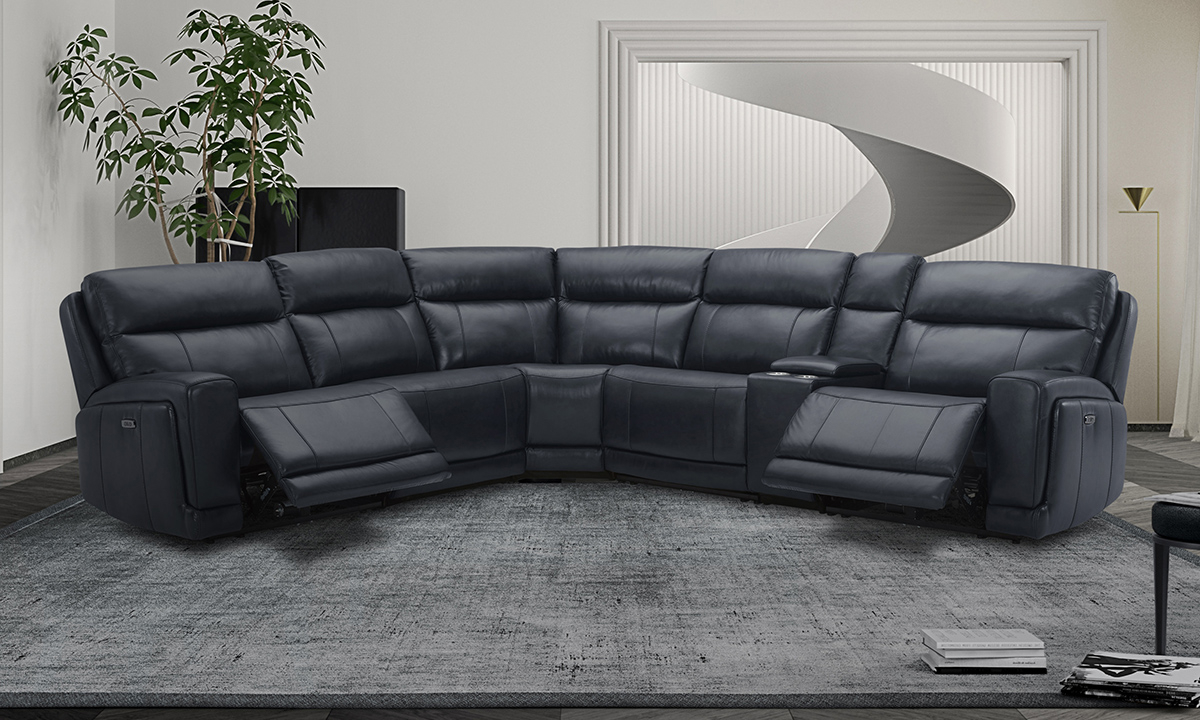 Leather Power Reclining Sectional With Regard To Most Up To Date Bloutop Upholstered Sectional Sofas (View 25 of 25)