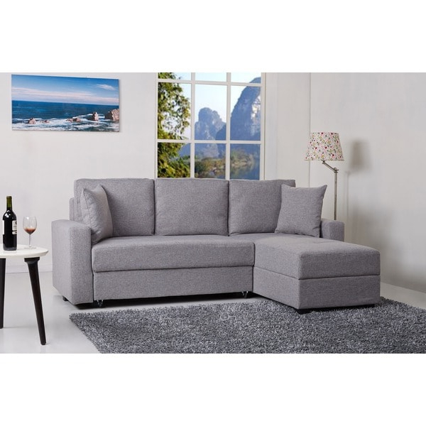 Liberty Sectional Futon Sofas With Storage Inside Best And Newest Shop Aspen Ash Convertible Sectional Storage Sofa Bed (View 20 of 25)