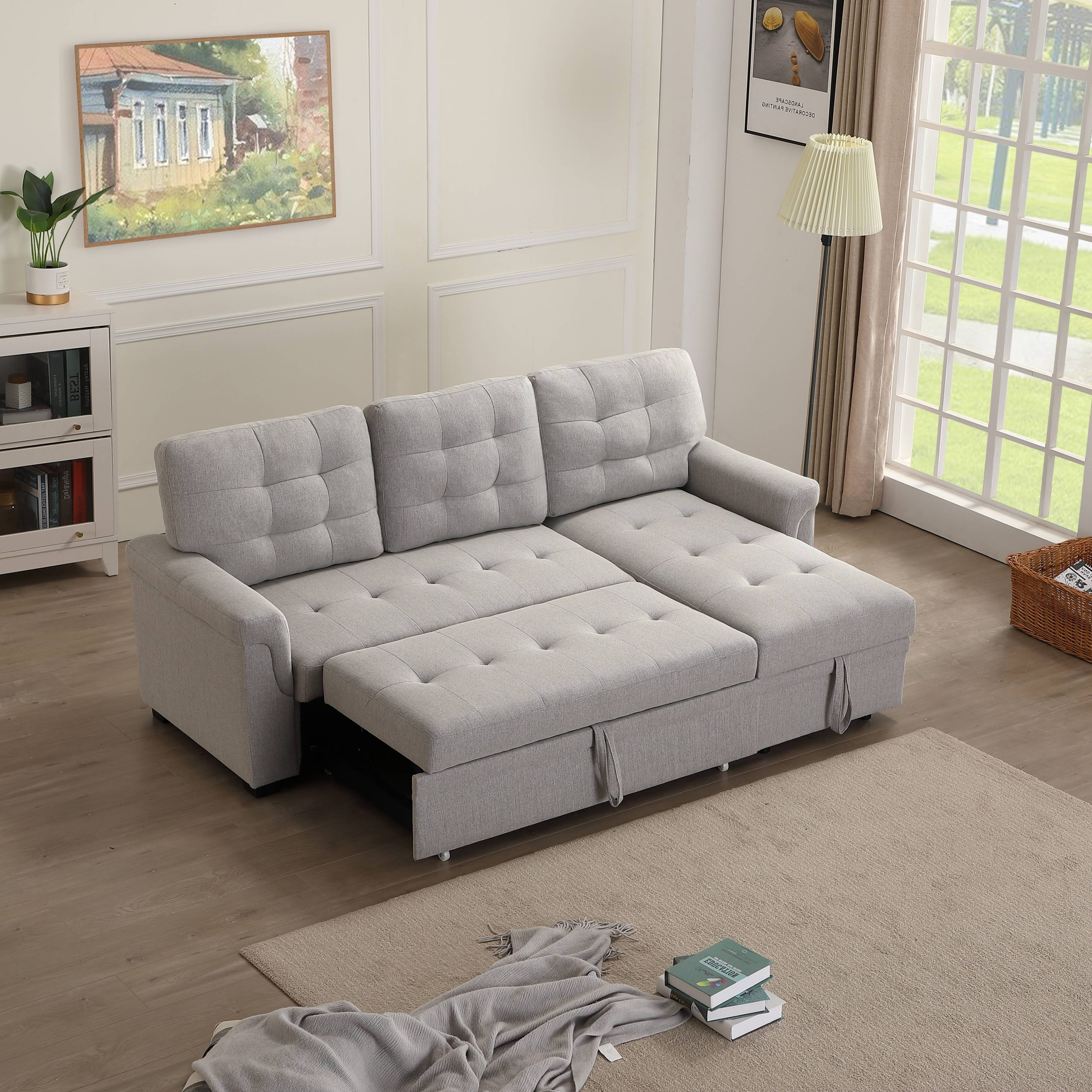Liberty Sectional Futon Sofas With Storage Within Popular Upholstery Twin Sleeper Tufted Sofa Bed For Livingroom,  (View 14 of 25)