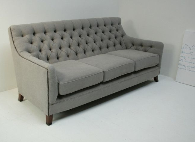 Light Gray Randolph Sofa With Nailhead Trim (1 With Regard To Most Recently Released Radcliff Nailhead Trim Sectional Sofas Gray (View 9 of 25)