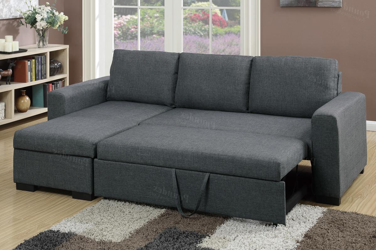 Live It Cozy Sectional Sofa Beds With Storage With Regard To Best And Newest Poundex Samo F6931 Grey Fabric Sectional Sofa Bed – Steal (View 18 of 25)