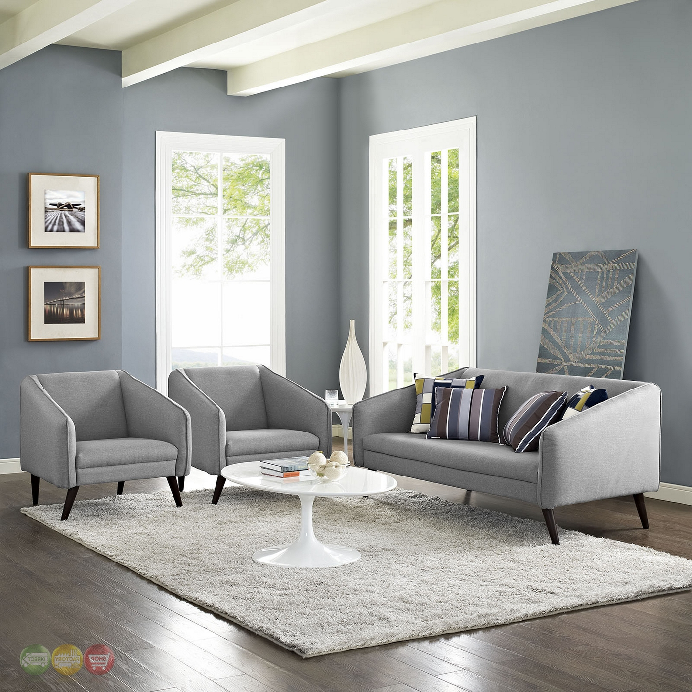 Ludovic Contemporary Sofas Light Gray Regarding Well Known Slide Modern 3 Pc Upholstered Sofa & Armchairs Living Room (View 24 of 25)
