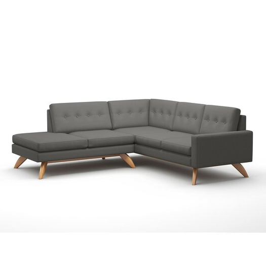 """Luna Leather Sectional Sofas With Best And Newest Truemodern Luna 91"""" X 94"""" Sectional Sofa With Bumper (View 17 of 25)"""