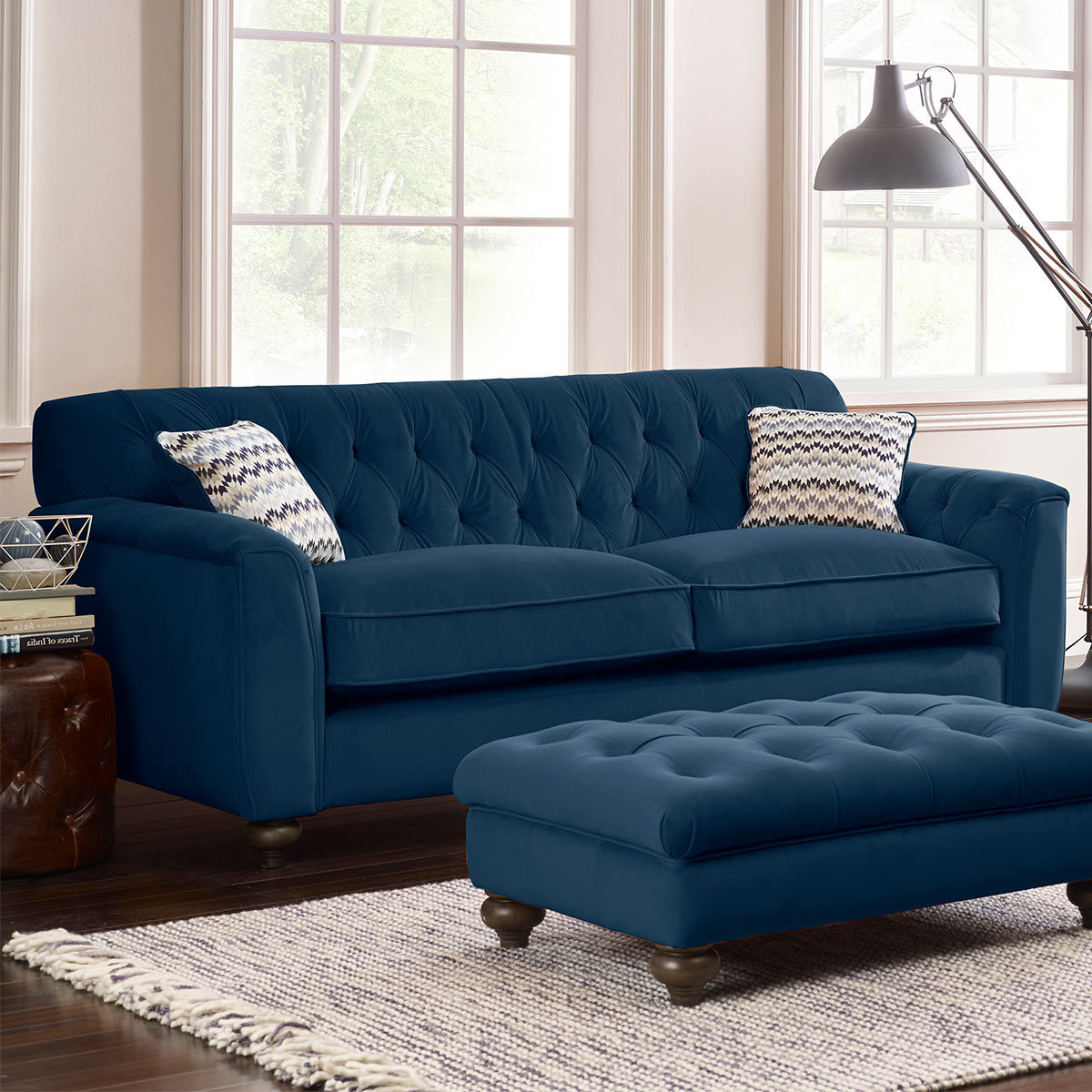 Lyvia Pillowback Sofa Sectional Sofas Pertaining To Favorite Avante Button Back 4 Seater Velvet Sofa With 2 Accent (View 6 of 25)