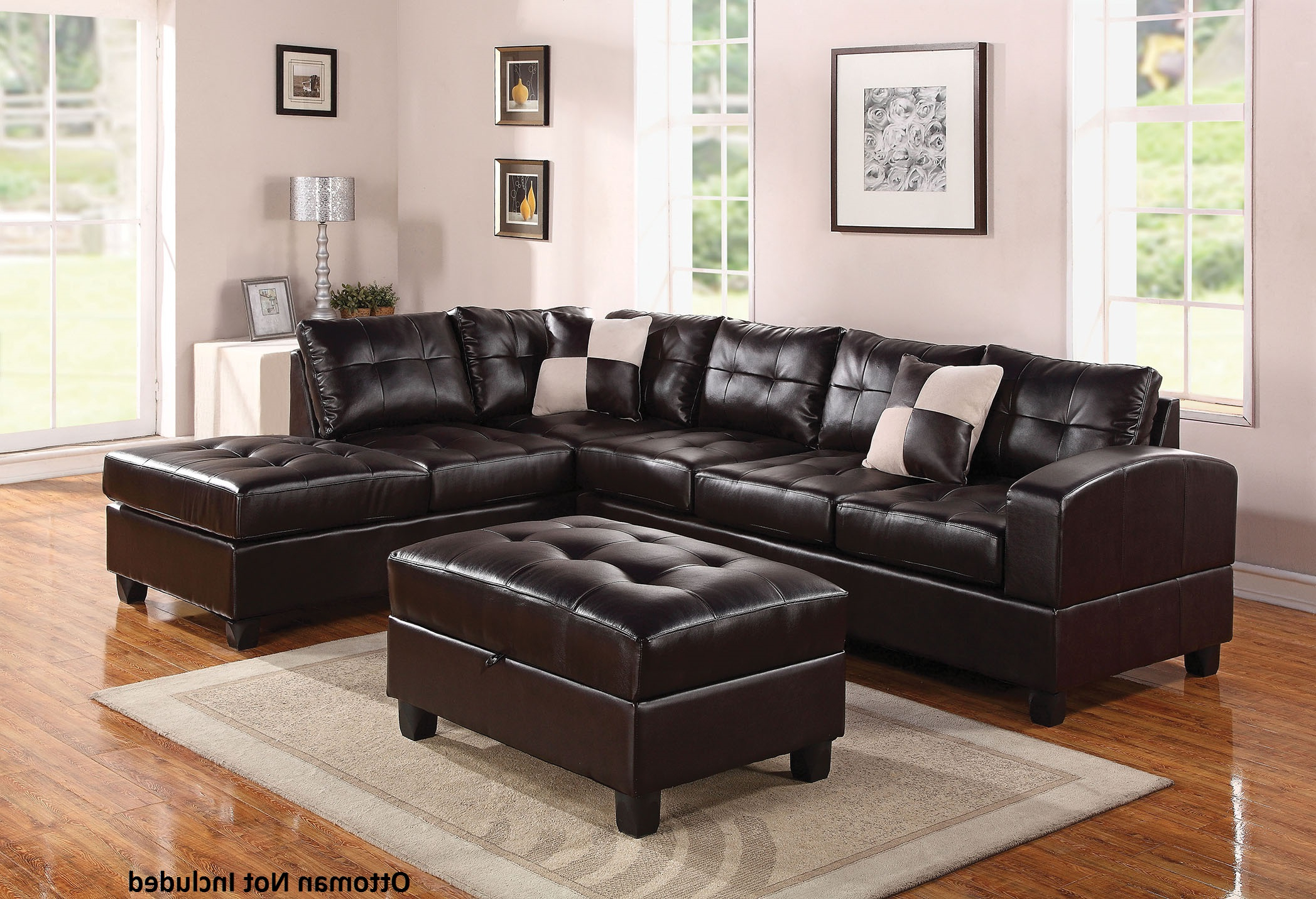 Lyvia Pillowback Sofa Sectional Sofas Regarding Preferred 51195 Kiva Reversible Sectional With Left Facing Sofa (View 17 of 25)