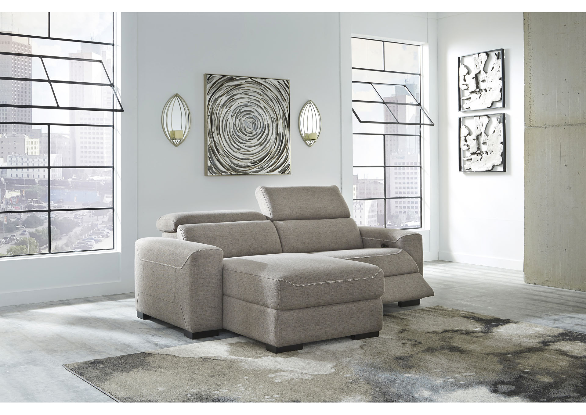 Mabton Gray Right Arm Facing Power Reclining 2 Piece For Most Up To Date 2Pc Maddox Left Arm Facing Sectional Sofas With Chaise Brown (View 13 of 25)