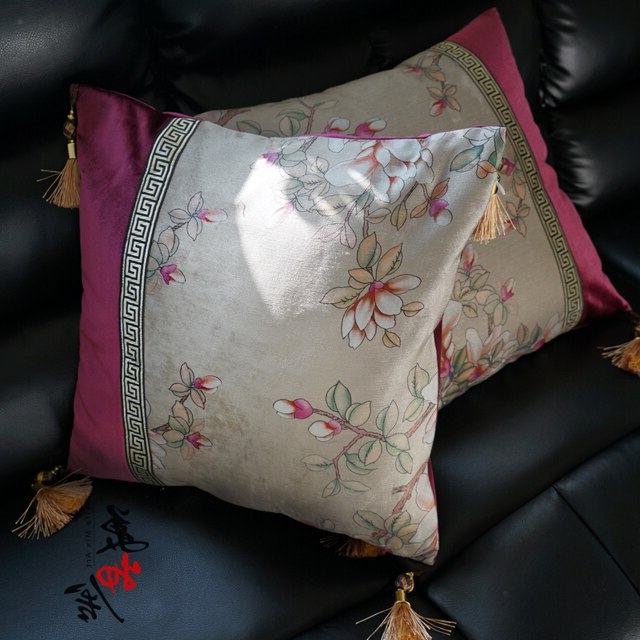 Magnolia Sectional Sofas With Pillows In Latest Freeshpping Pillow Case New Purple Magnolia Embroidery (View 18 of 25)
