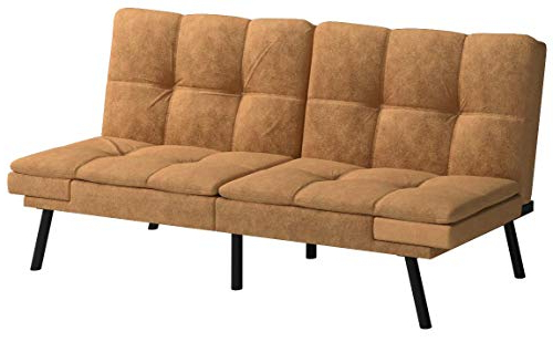 Mainstay* Wooden Frame Memory Foam Split Seat And Back With Newest Celine Sectional Futon Sofas With Storage Camel Faux Leather (View 5 of 25)