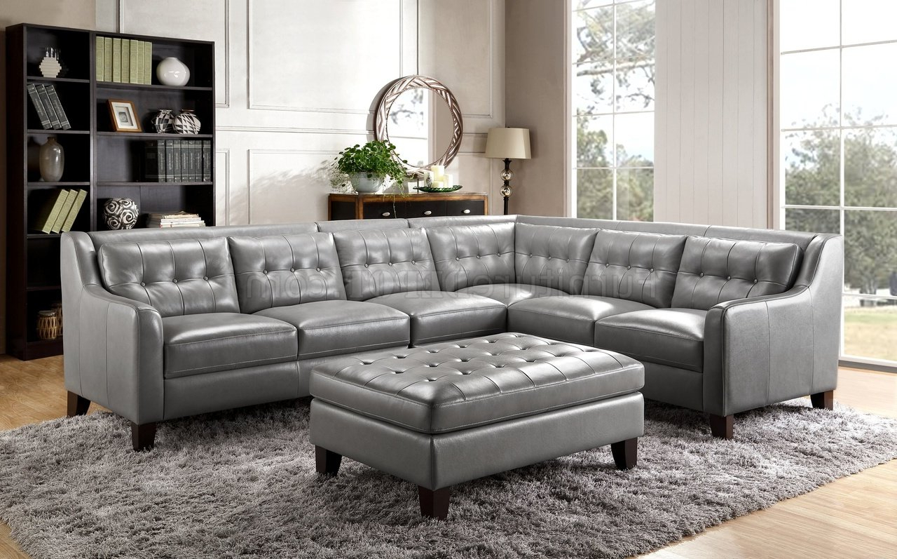 Malibu Sectional Sofa In Greyleather Italia W/Options Inside Well Known Noa Sectional Sofas With Ottoman Gray (View 1 of 25)