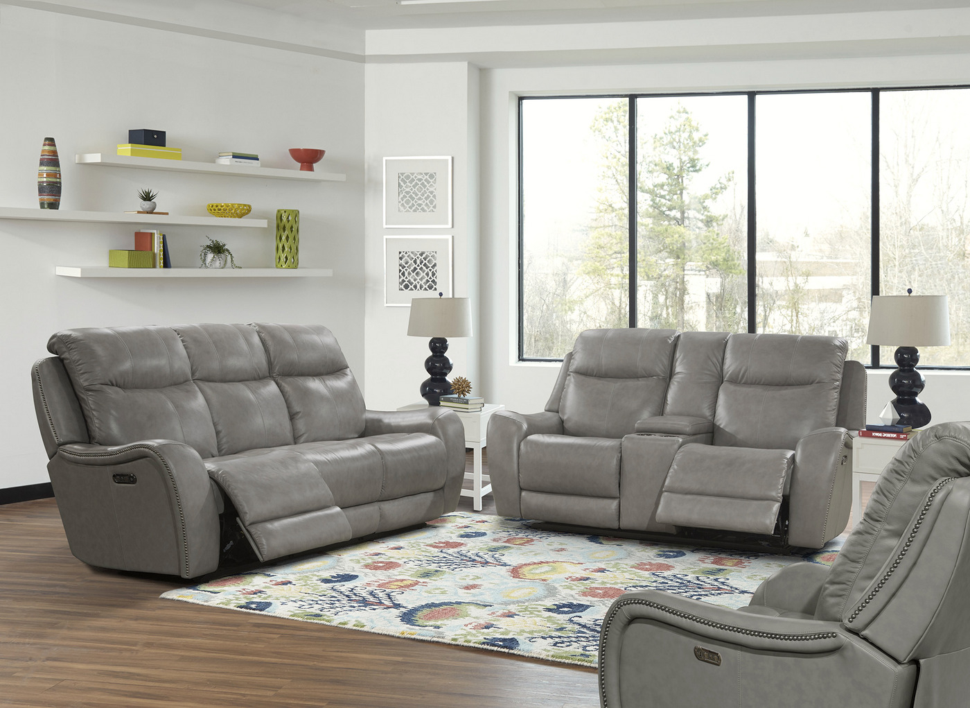 Mammoth Grey Transitional Power Dual Reclining Leather Within Recent Gray Reclining Sofas (View 11 of 17)
