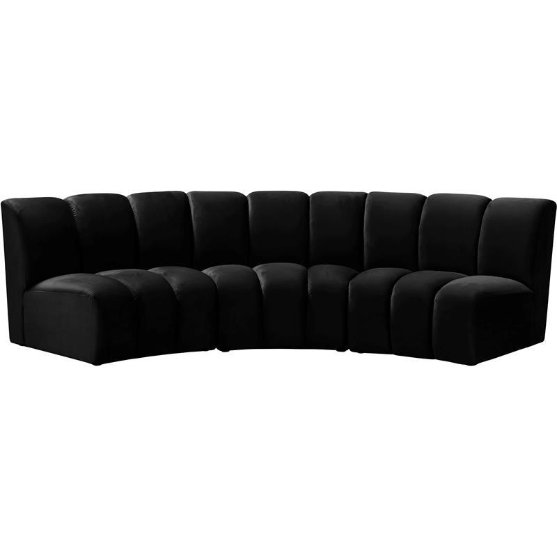 Meridian Furniture Infinity Black Velvet 3Pc (View 13 of 25)