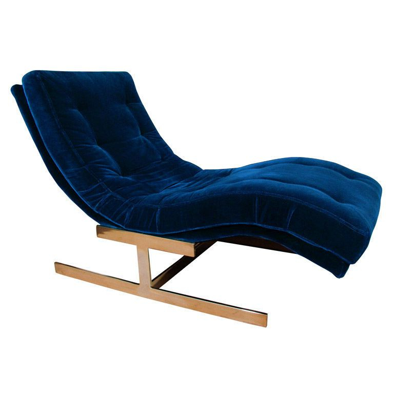 """Mid Century Milo Baughman """"Wave"""" Chaise Lounge Chair At In Most Up To Date Dulce Mid Century Chaise Sofas Dark Blue (View 25 of 25)"""