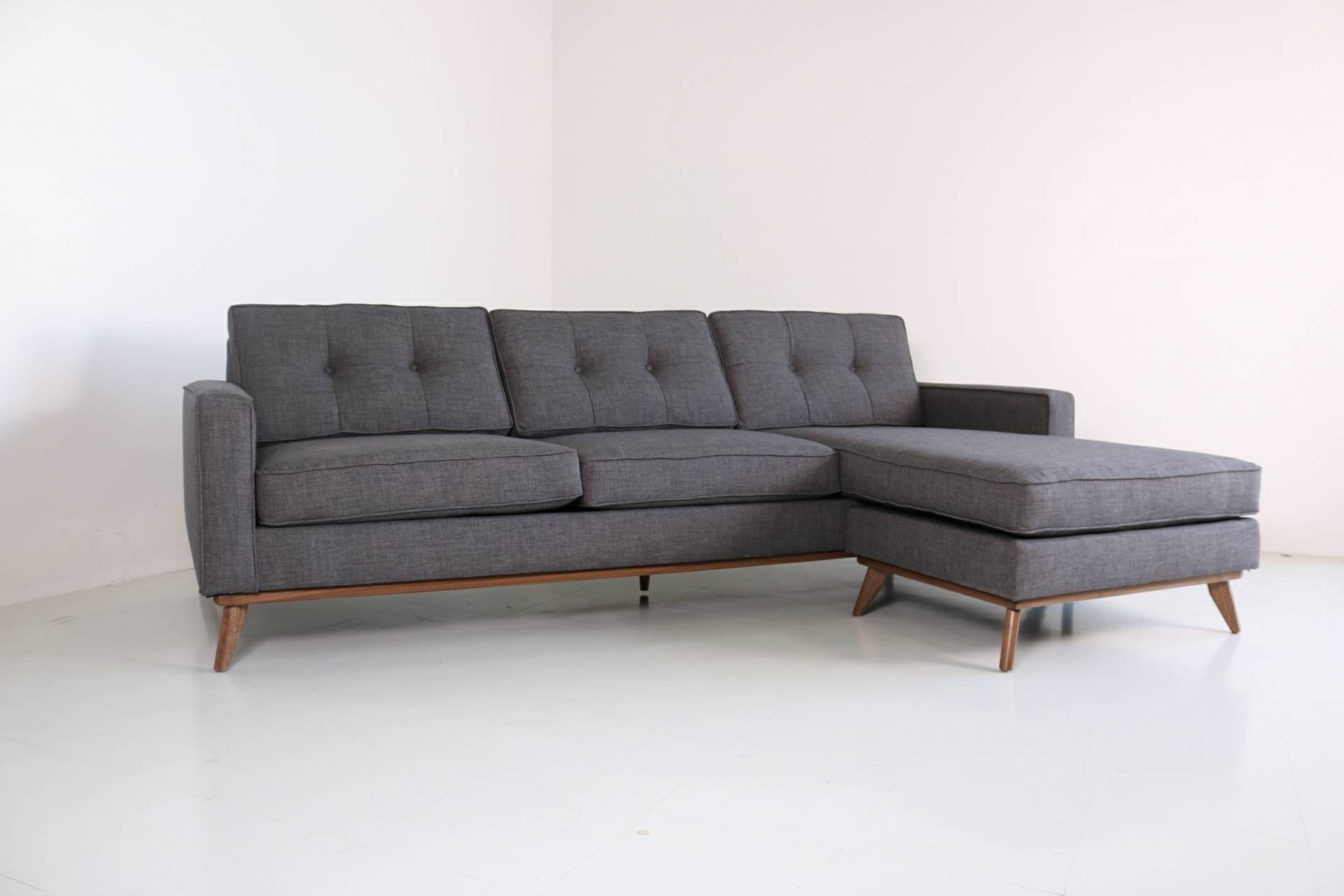 Mid Century Modern Danish Sofa Sectional Chaise Reversible For Trendy Alani Mid Century Modern Sectional Sofas With Chaise (View 7 of 25)