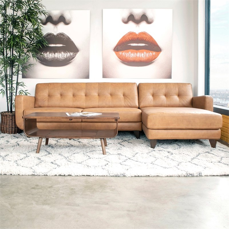 Mid Century Modern Davis Tan Genuine Leather Sectional In Well Liked Florence Mid Century Modern Left Sectional Sofas (View 8 of 25)