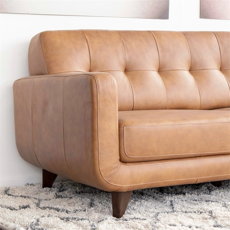 Mid Century Modern Davis Tan Genuine Leather Sectional Pertaining To Widely Used Alani Mid Century Modern Sectional Sofas With Chaise (View 11 of 25)