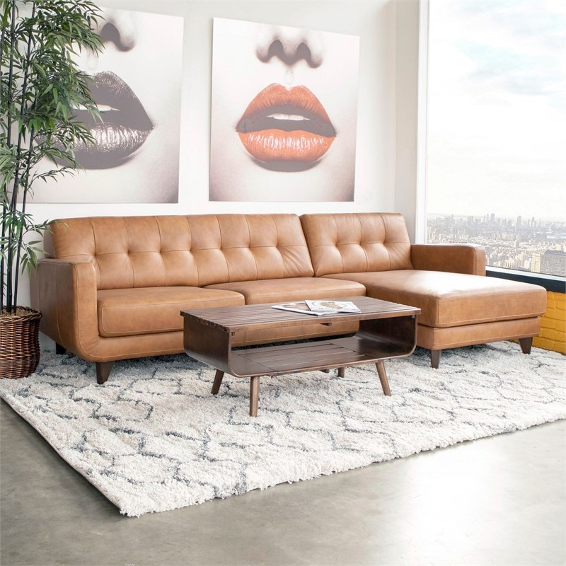 Mid Century Modern Davis Tan Genuine Leather Sectional With Most Popular Florence Mid Century Modern Left Sectional Sofas (View 5 of 25)