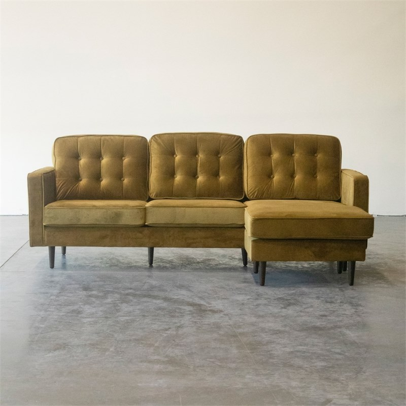Mid Century Modern Kayle Dark Yellow Reversible Sectional In Famous Verona Mid Century Reversible Sectional Sofas (View 10 of 25)