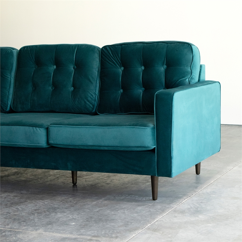 Mid Century Modern Kayle Teal Velvet Reversible Sectional With Recent Verona Mid Century Reversible Sectional Sofas (View 3 of 25)