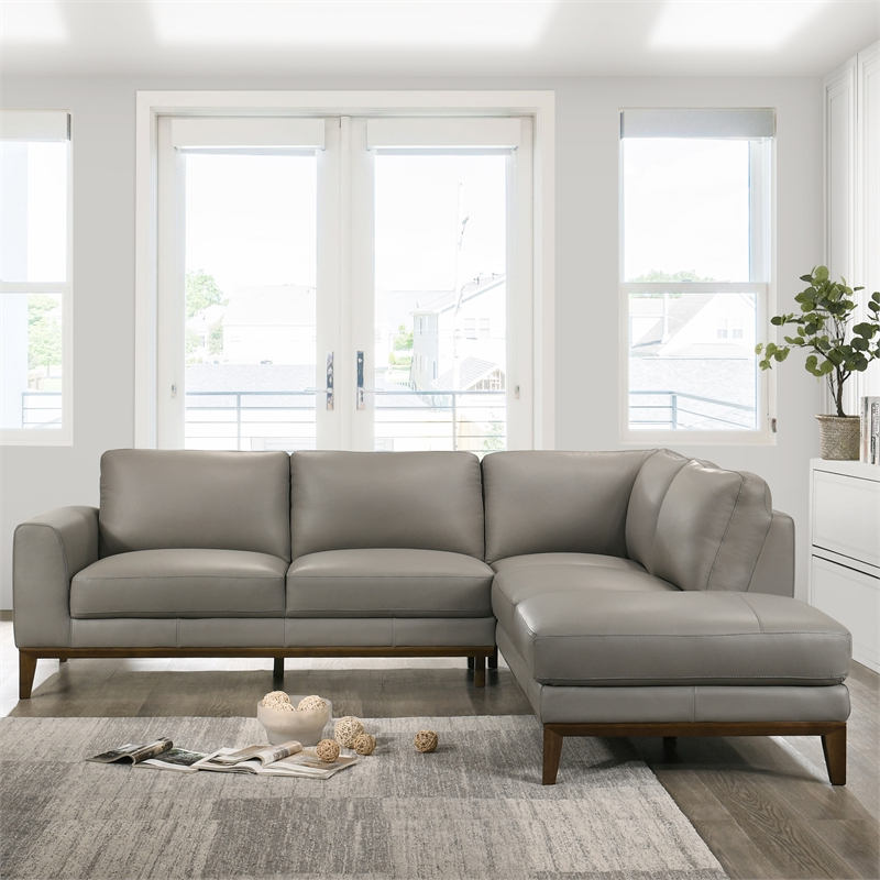 Mid Century Modern Milton Gray Leather Sectional Sofa For 2017 Florence Mid Century Modern Left Sectional Sofas (View 11 of 25)