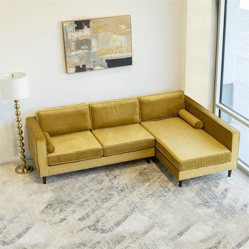Mid Century Modern Owen Gold Velvet Sectional Sofa Left Inside Well Liked Florence Mid Century Modern Velvet Left Sectional Sofas (View 24 of 25)
