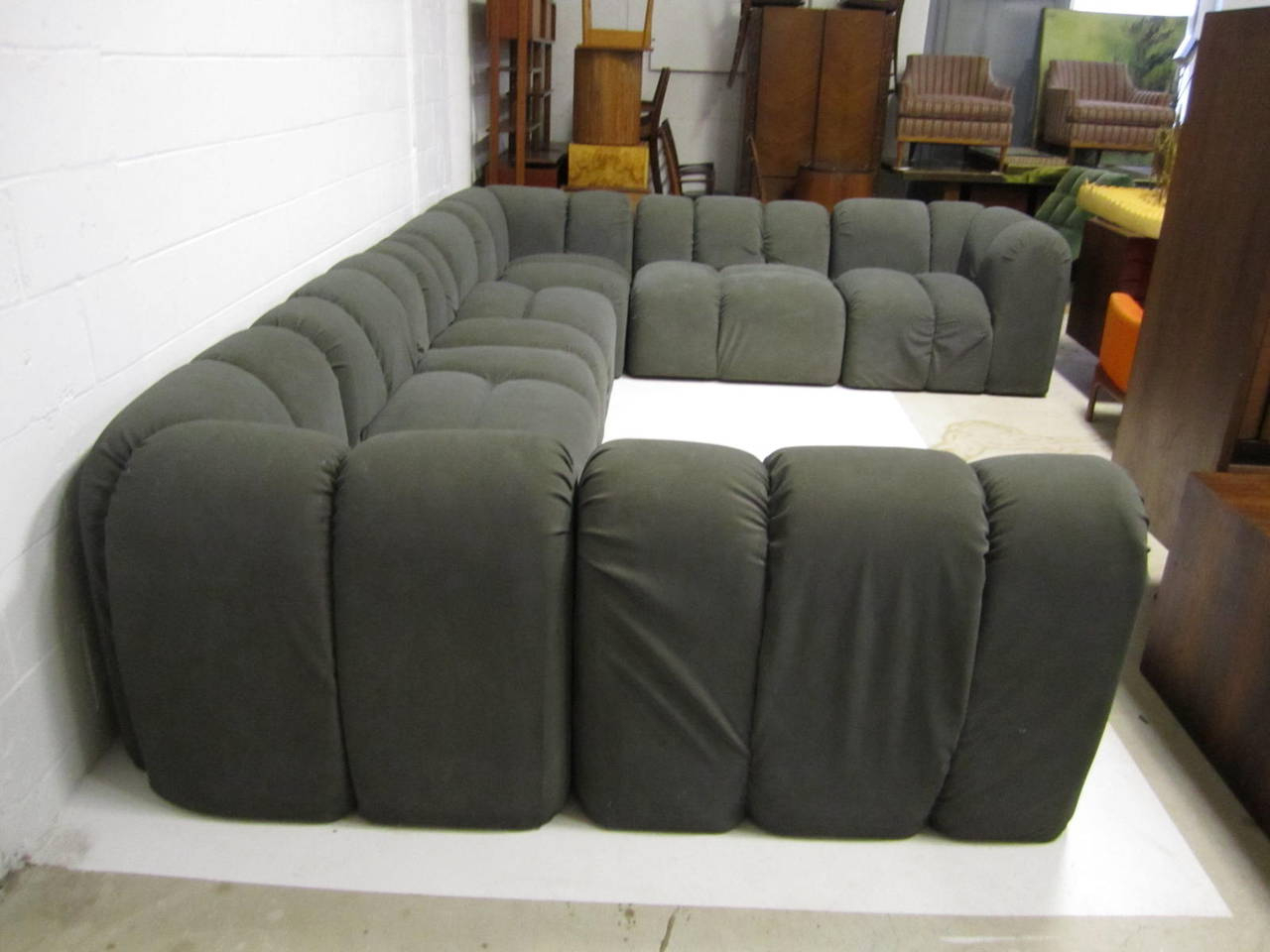 Mid Century Modern Seven Piece Signed Paul Evans Sectional With Regard To Well Liked Paul Modular Sectional Sofas Blue (View 4 of 25)