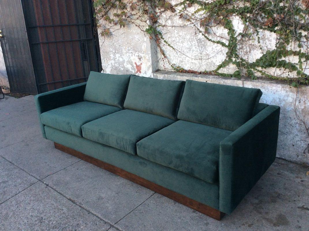 Mid Century Velvet Floating Sofa In Green (View 25 of 25)