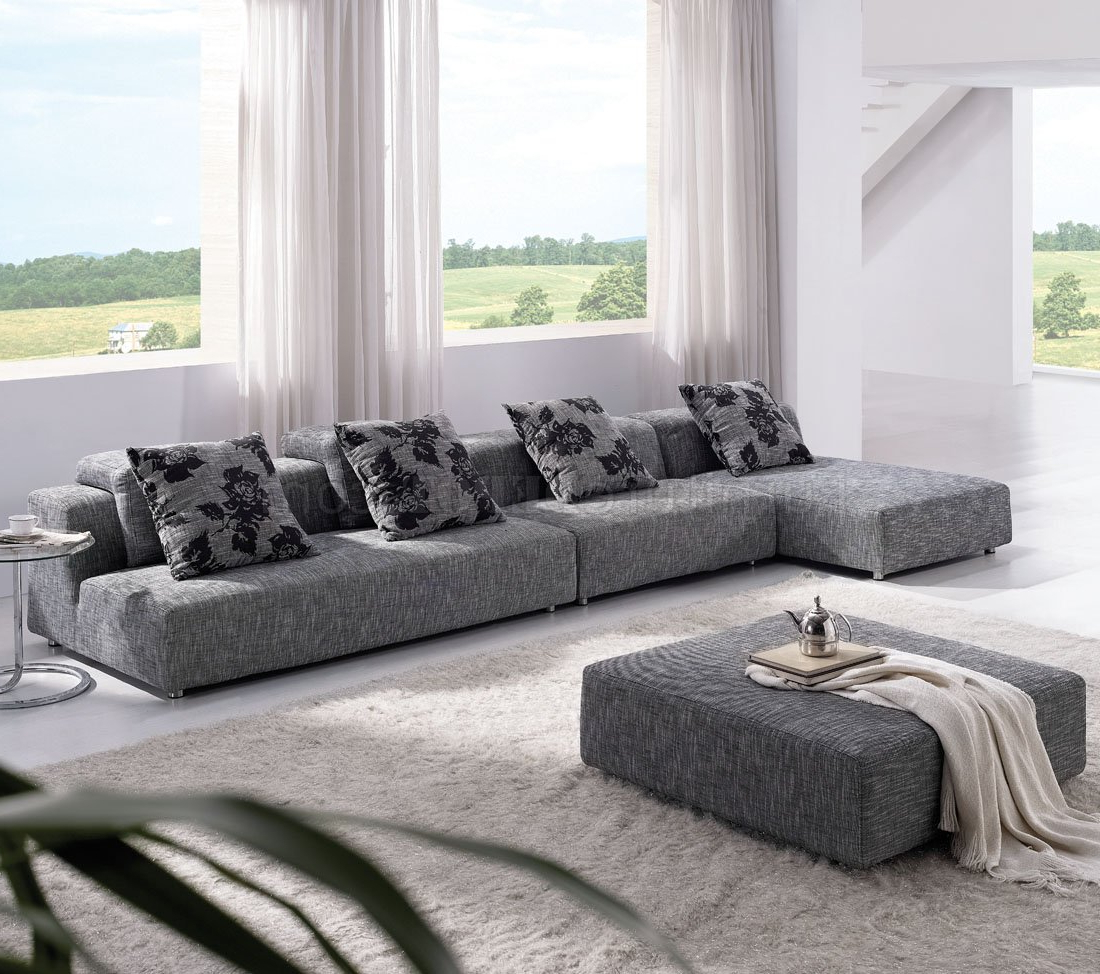 Mireille Modern And Contemporary Fabric Upholstered Sectional Sofas Inside Favorite Grey Zebrano Fabric Modern Sectional Sofa W/Ottoman (View 23 of 25)