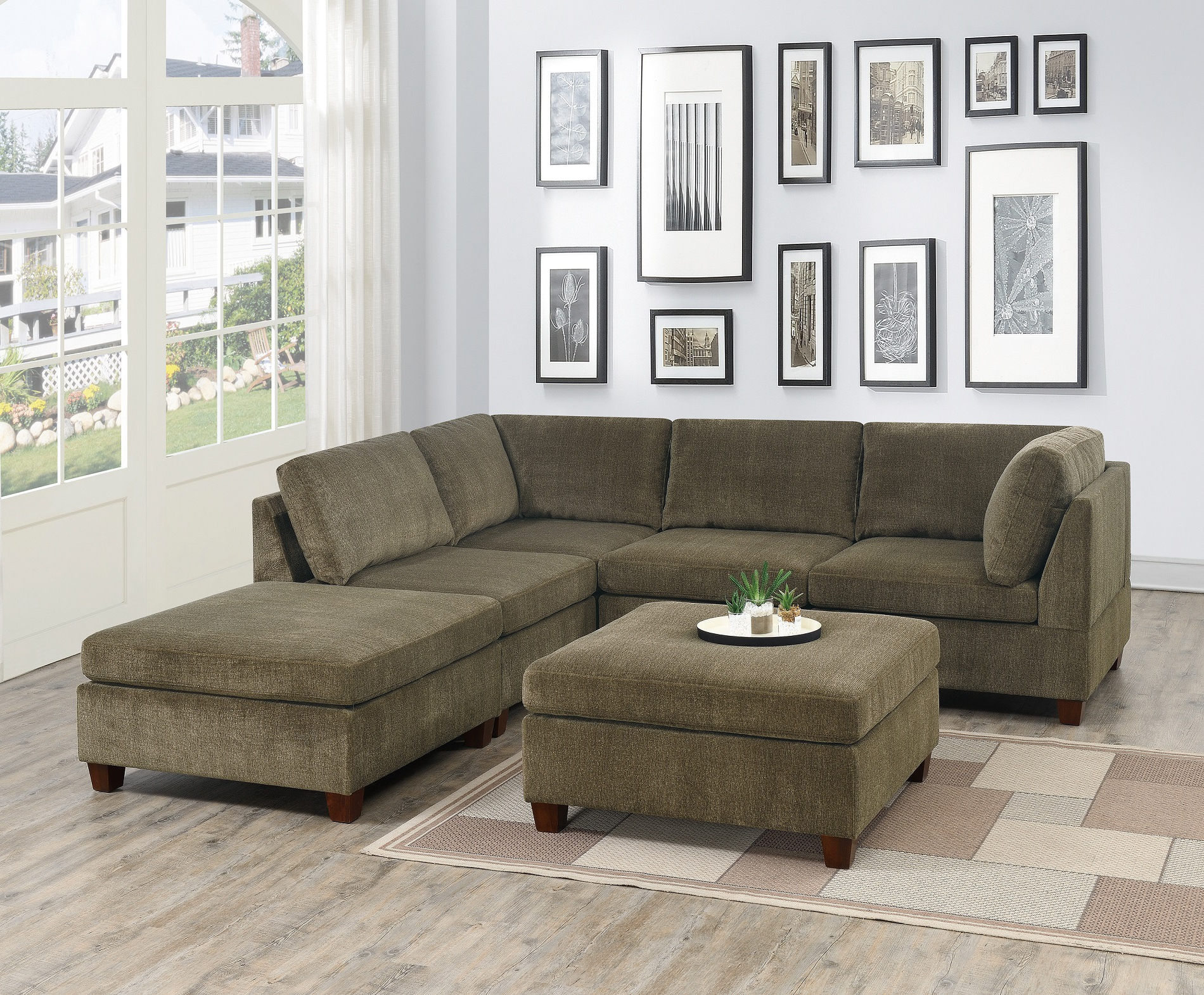 Mireille Modern And Contemporary Fabric Upholstered Sectional Sofas Pertaining To Most Recent Contemporary Modern Unique Modular 6Pc Sectional Sofa Set (View 1 of 25)