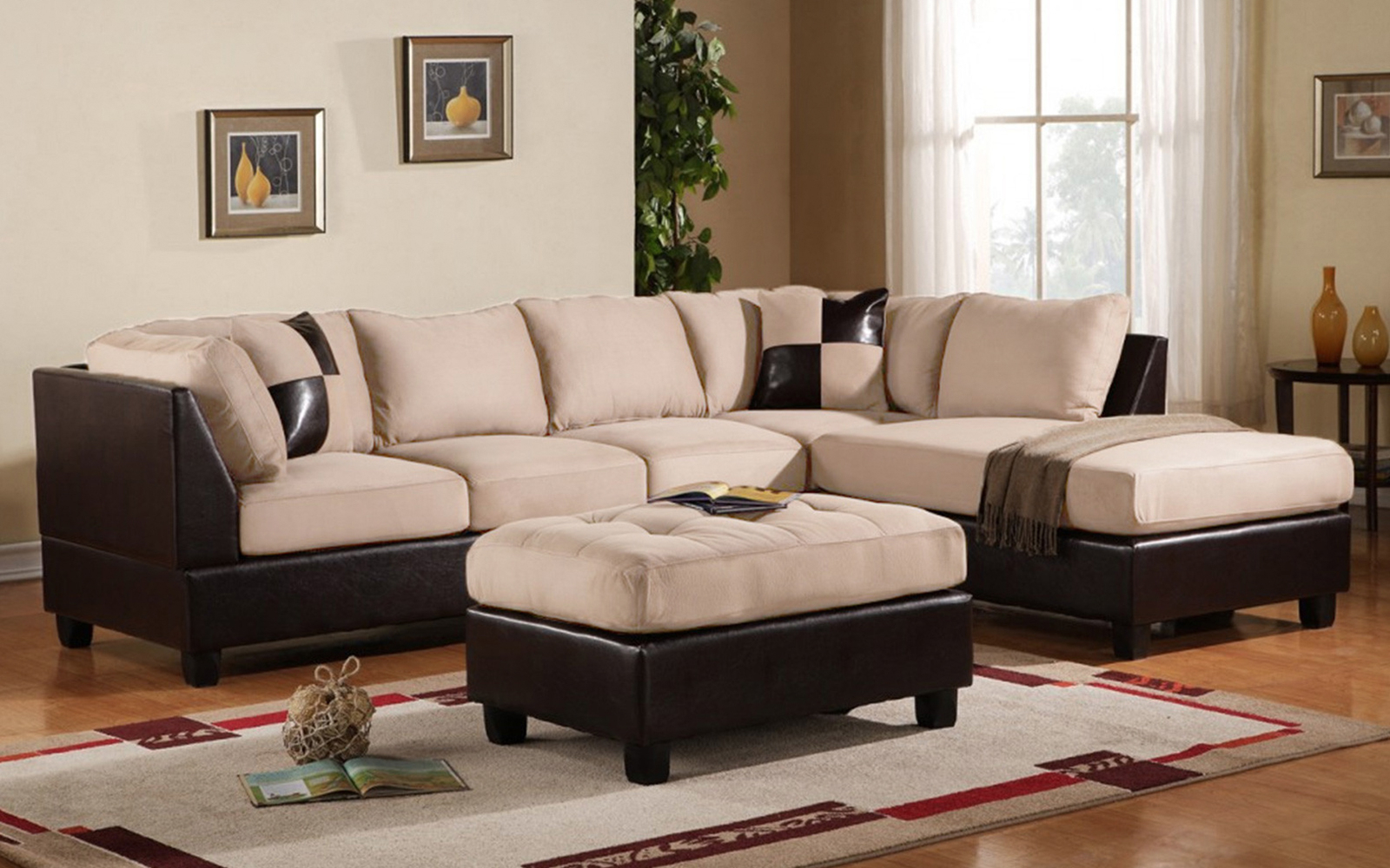 Mobilis 3 Pc Modern Soft Reversible Microfiber And Faux Inside Newest 3Pc Faux Leather Sectional Sofas Brown (View 10 of 25)