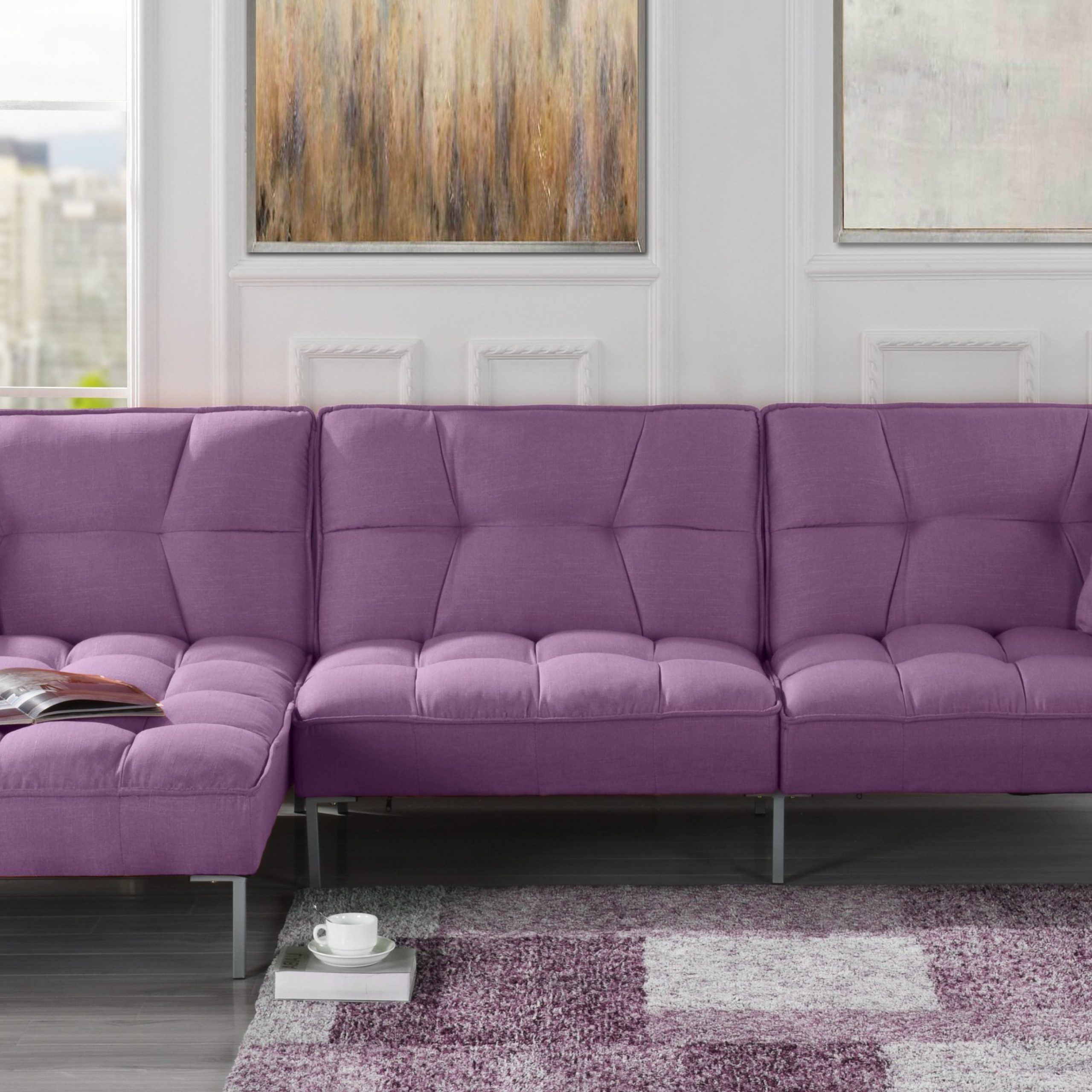 Mobilis Modern Square Tufted Linen Fabric Sectional Sofa Within Newest 4Pc Crowningshield Contemporary Chaise Sectional Sofas (View 5 of 25)