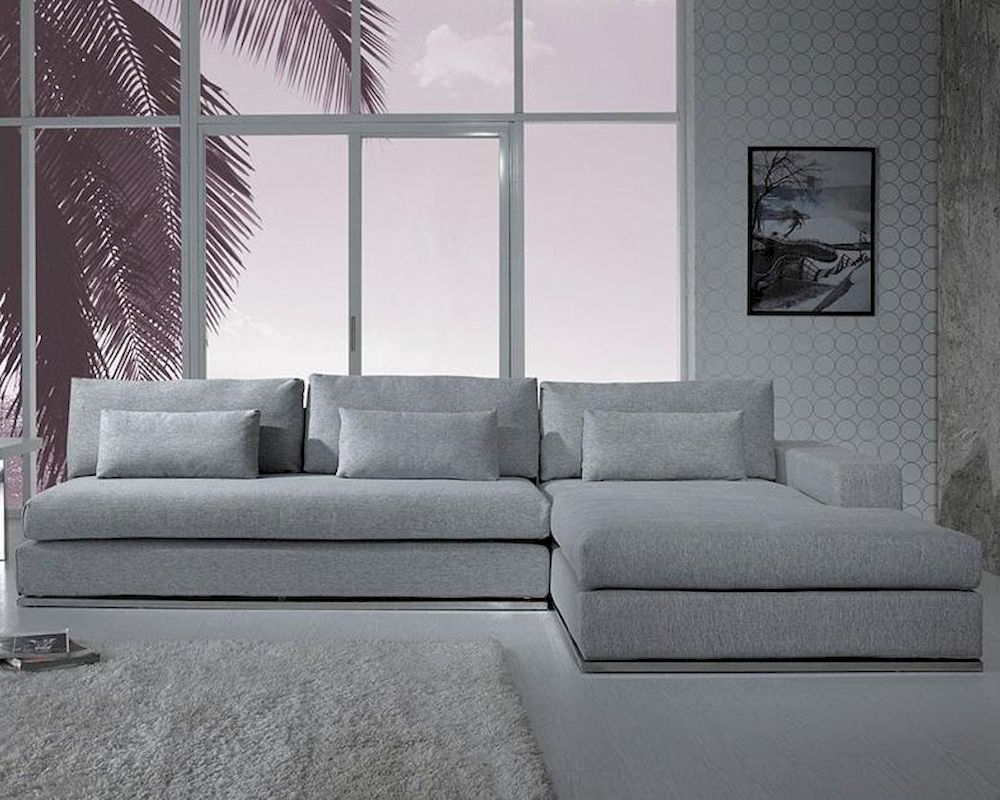 Modern Light Grey Fabric Sectional Sofa 44L6096 With Most Popular Mireille Modern And Contemporary Fabric Upholstered Sectional Sofas (View 15 of 25)