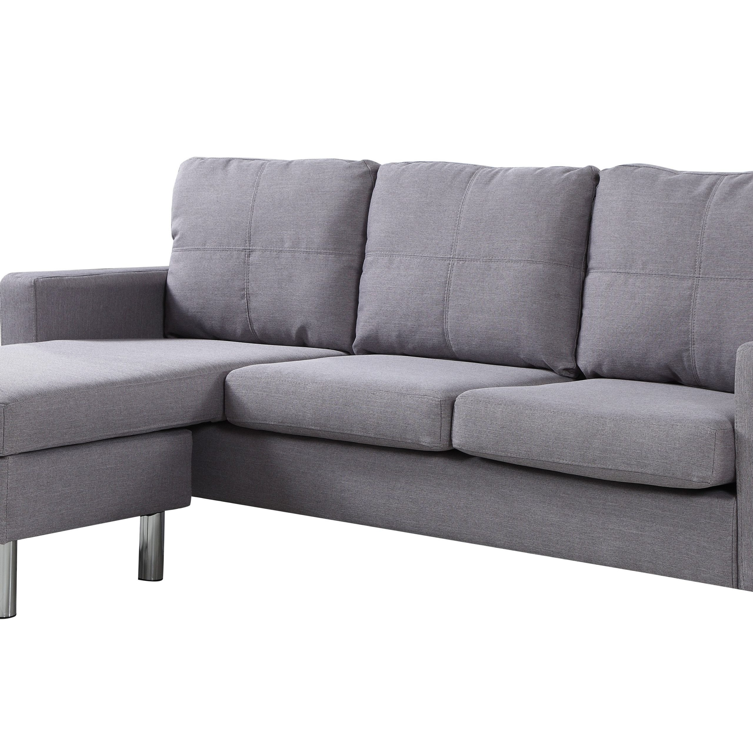 Modern Living Reversible Fabric Sectional Sofa, Light Grey Inside Most Up To Date 2Pc Crowningshield Contemporary Chaise Sofas Light Gray (View 4 of 25)