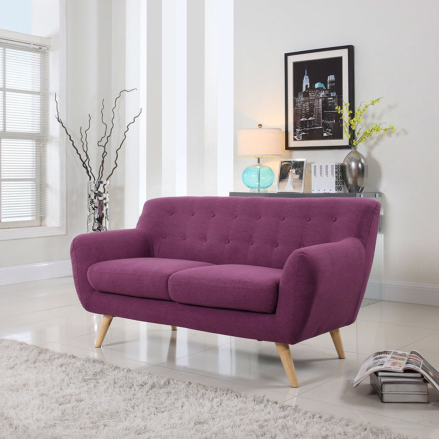 Modern Purple Linen Fabric Upholstered Mid Century Style Within Best And Newest Mireille Modern And Contemporary Fabric Upholstered Sectional Sofas (View 9 of 25)
