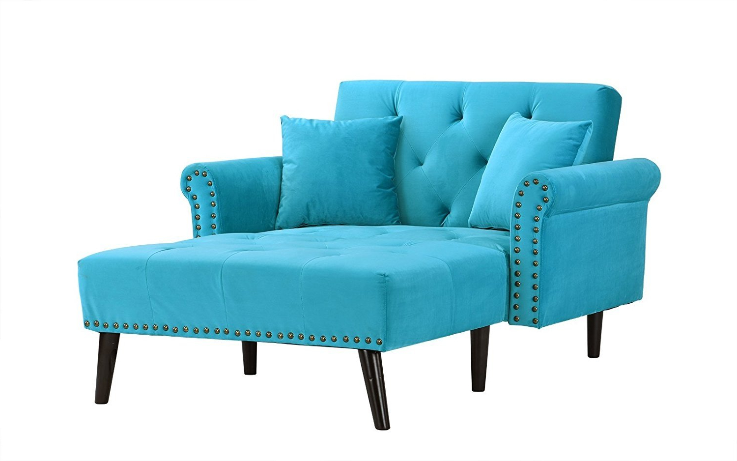 Modern Velvet Reclining Chaise Lounge W/ Nailhead/Tufted Throughout Best And Newest Dulce Mid Century Chaise Sofas Dark Blue (View 10 of 25)