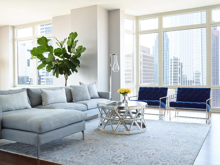 Molnar Upholstered Sectional Sofas Blue/Gray In Best And Newest Gray Sofa With Chaise Lounge And Blue Velvet Accent Chairs (View 25 of 25)