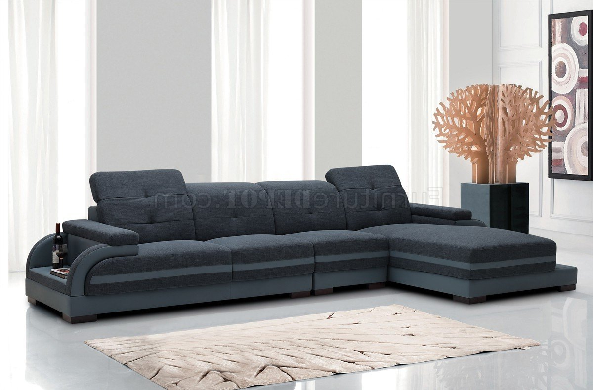 Molnar Upholstered Sectional Sofas Blue/Gray Pertaining To 2018 5132 Sectional Sofa In Blue Fabric & Grey Bonded Leather (View 1 of 25)