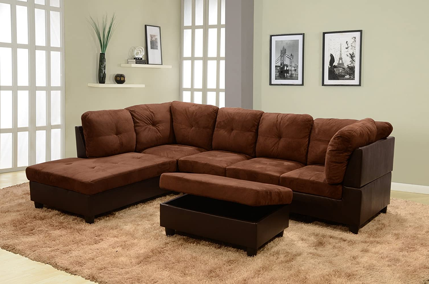Monet Right Facing Sectional Sofas Pertaining To Most Up To Date Ainehome 3 Pcs Living Room Set, Sectional Sofa Set (View 2 of 25)