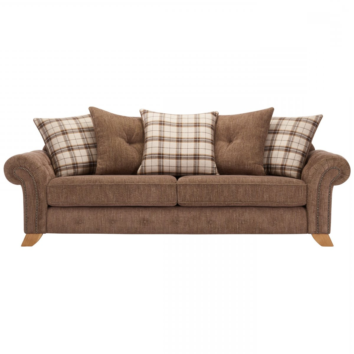 Montana Sofas Intended For Latest Montana 4 Seater Sofa With Pillow Back In Brown Fabric (View 9 of 15)