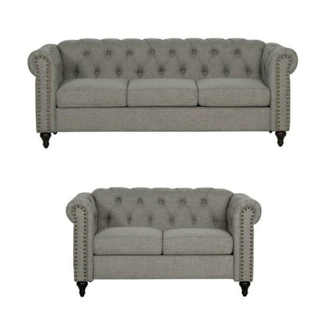 Most Current 2 Piece Nailhead Trim Sofa And Loveseat Set In Gray (View 17 of 25)