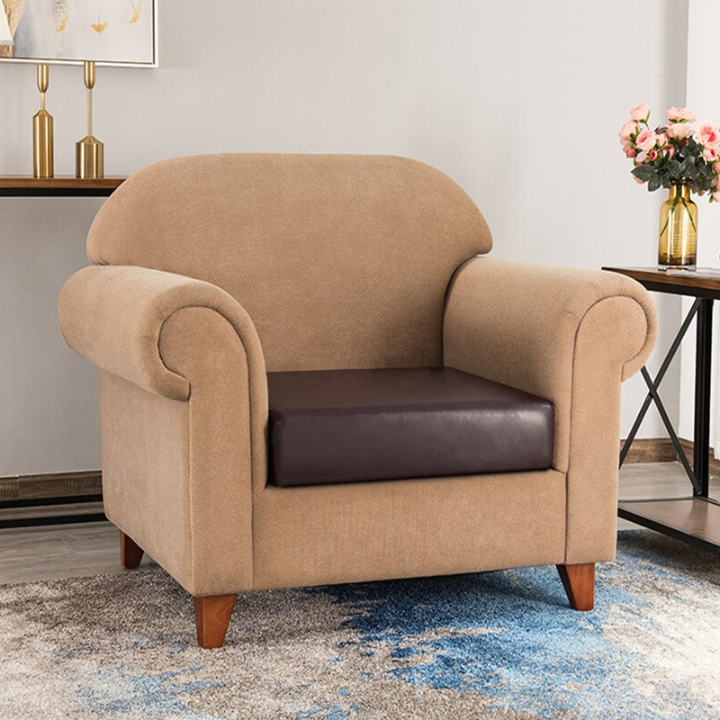 Most Current Bonded Leather All In One Sectional Sofas With Ottoman And 2 Pillows Brown For Latitude Run® Faux Leather Stretchy Sofa Seat Cushion (View 17 of 25)