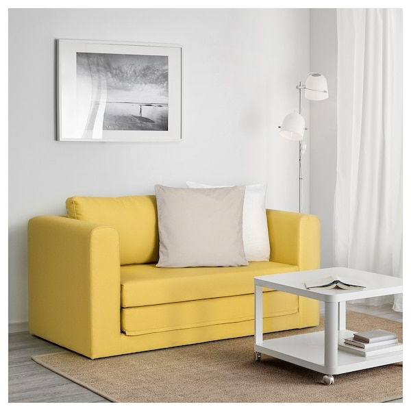 Most Current Easton Small Space Sectional Futon Sofas Inside Askeby Gräsbo Golden Yellow, 2 Seat Sofa Bed – Ikea (View 4 of 25)