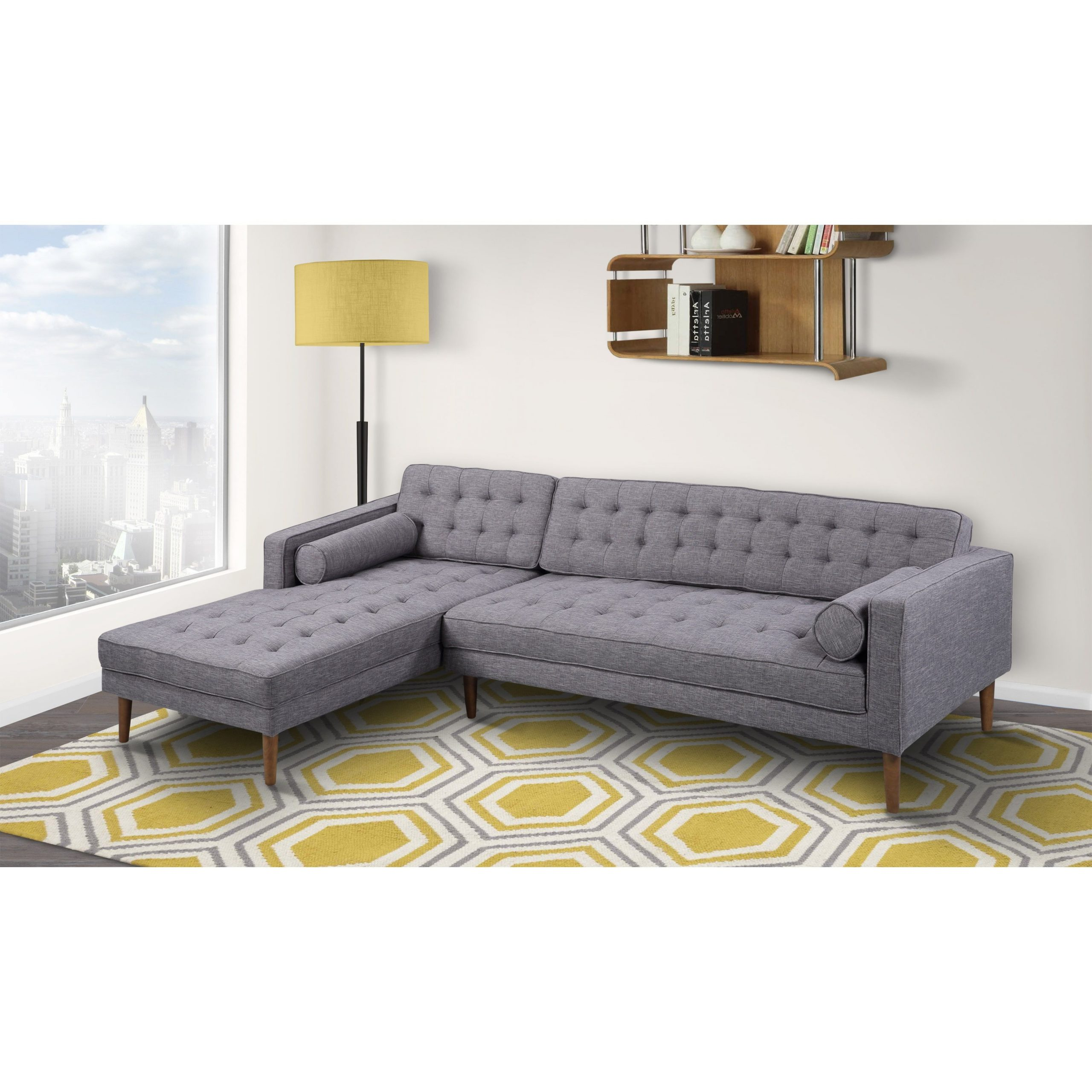 Most Current Element Right Side Chaise Sectional Sofas In Dark Gray Linen And Walnut Legs Within Armen Living Element Tufted Dark Grey Linen Sectional Sofa (View 7 of 25)