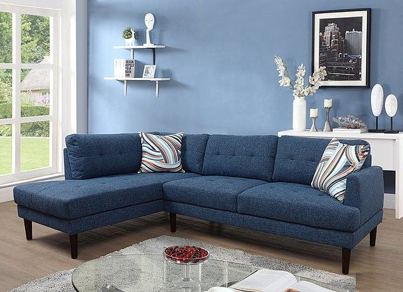Most Current F6009B 2 Pc Lifestyle Blue Linen Like Fabric Sectional Throughout 2Pc Burland Contemporary Chaise Sectional Sofas (View 24 of 25)