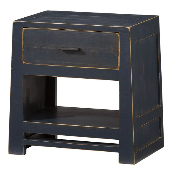 Most Current Gracie Oaks Aegon 1 – Drawer Solid Wood Nightstand In Navy Within Gracie Navy Sofas (View 7 of 15)