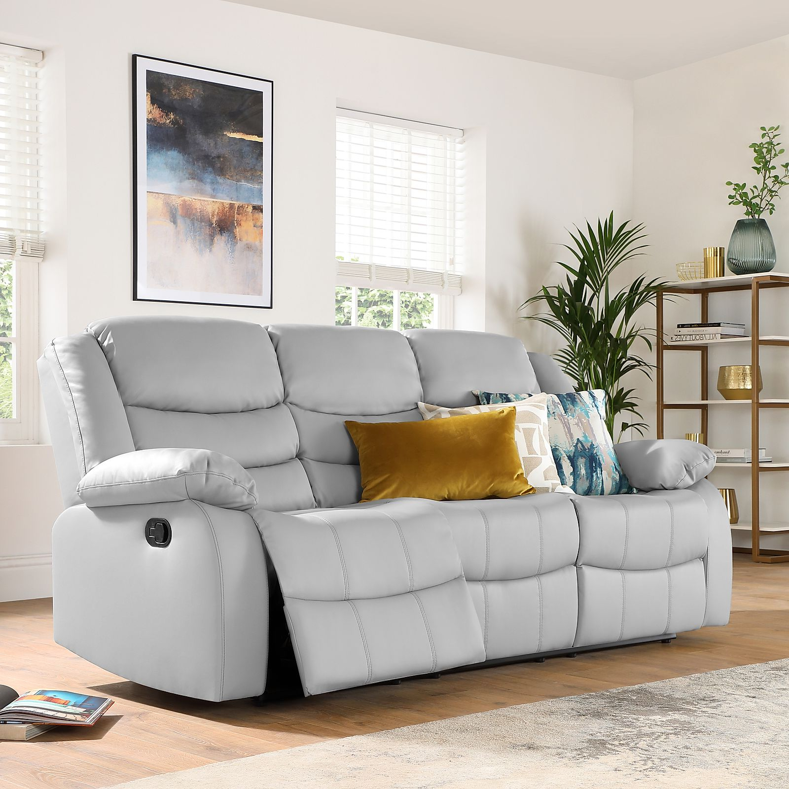 Most Current Gray Sofas Inside Sorrento Light Grey Leather 3 Seater Recliner Sofa (View 14 of 15)