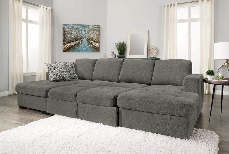 Most Current Live It Cozy Sectional Sofa Beds With Storage Inside Izzy 3 Piece Chenille Sleeper Sectional With 2 Chaises (View 4 of 25)