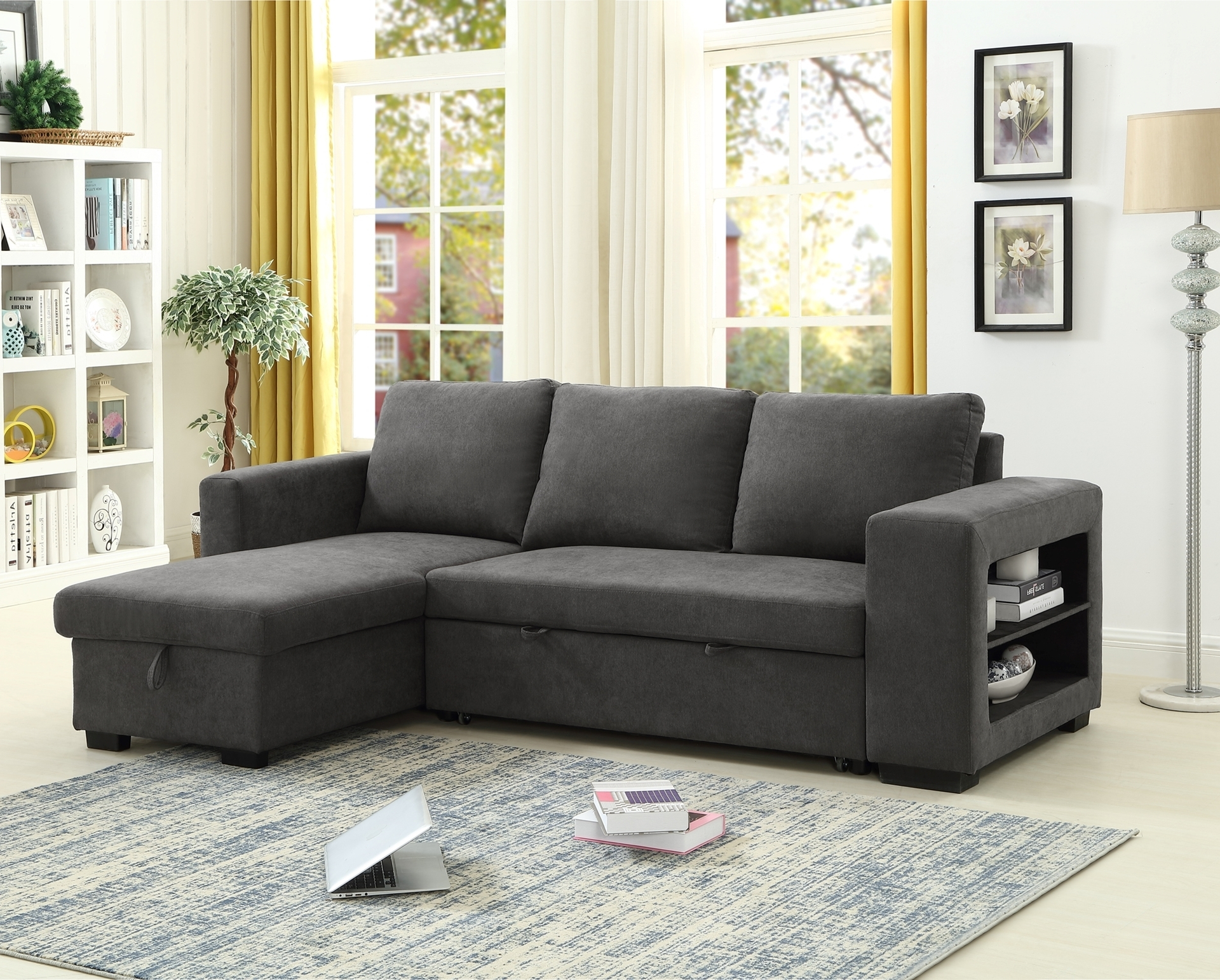 Most Current Lucena Reversible Sectional Sofa/Sofa Bed With Storage For Palisades Reversible Small Space Sectional Sofas With Storage (View 6 of 25)