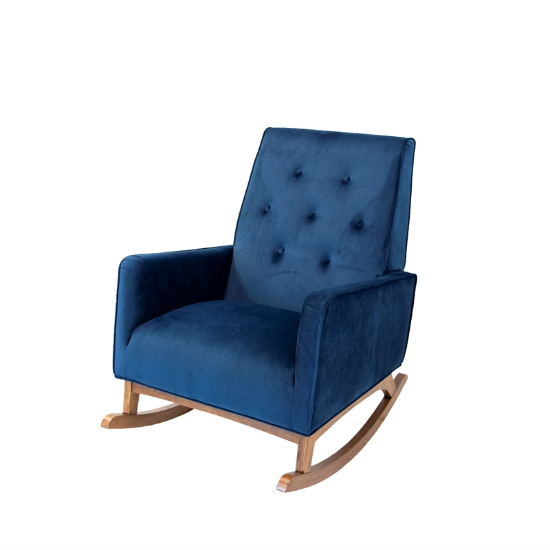 Most Current Mid Century Modern Collin Blue Velvet Rocking Chair – Ash4256 Intended For Dulce Mid Century Chaise Sofas Dark Blue (View 24 of 25)