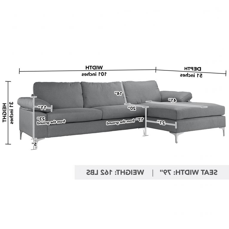 Most Current Modern Large Linen Fabric Sectional Sofa, L Shape Couch Throughout 2Pc Crowningshield Contemporary Chaise Sofas Light Gray (View 18 of 25)