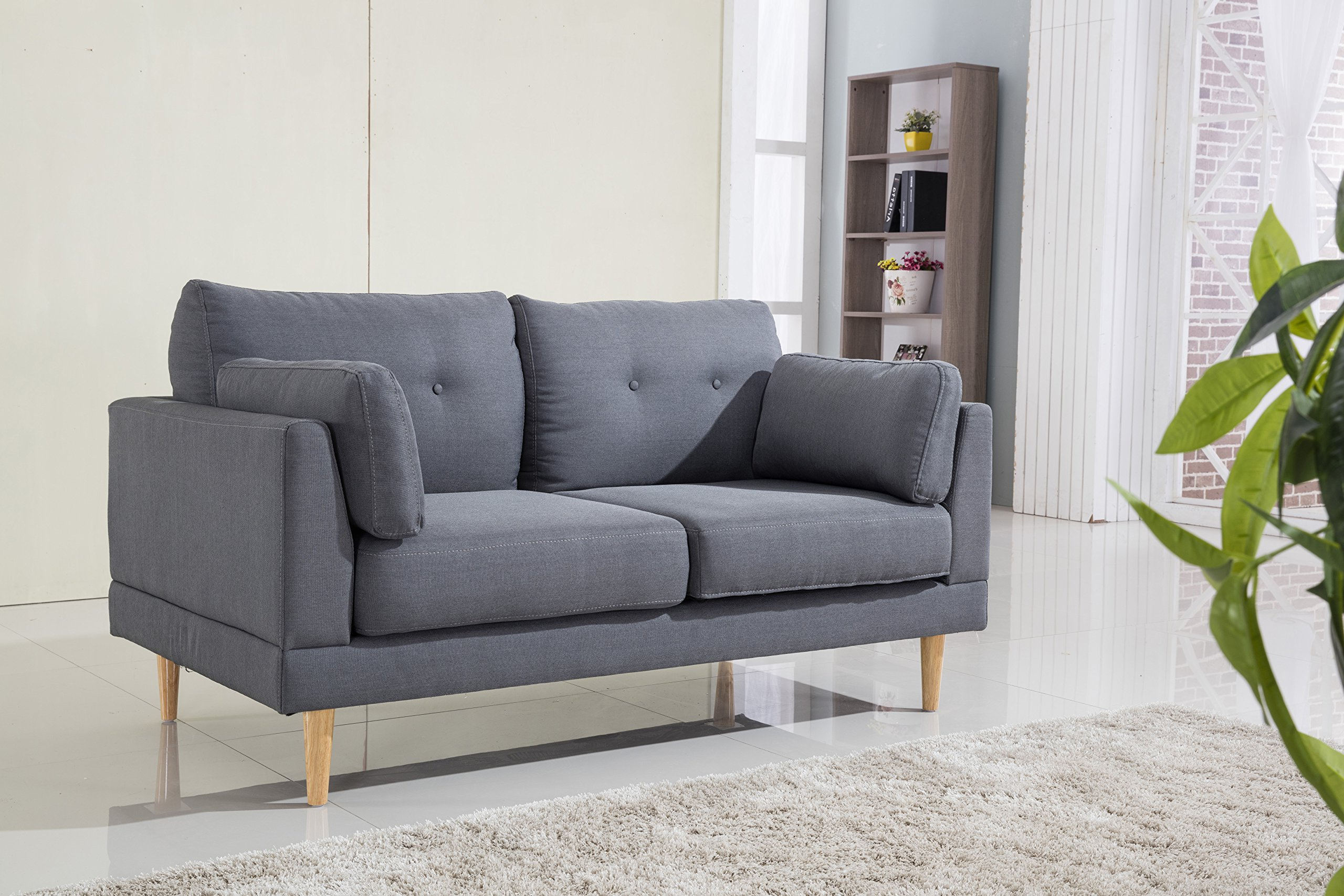 Most Current Polyfiber Linen Fabric Sectional Sofas Dark Gray Intended For Mid Century Modern Ultra Plush Linen Fabric Sofa, Color (View 16 of 25)